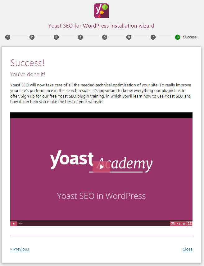 yoast configation wizard