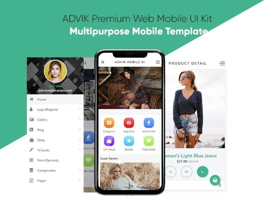 ADVIK Premium Web Mobile UI Kit App Template