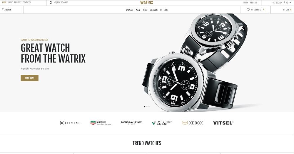 Watrix - Watch Shop ECommerce Classic Elementor WooCommerce Theme