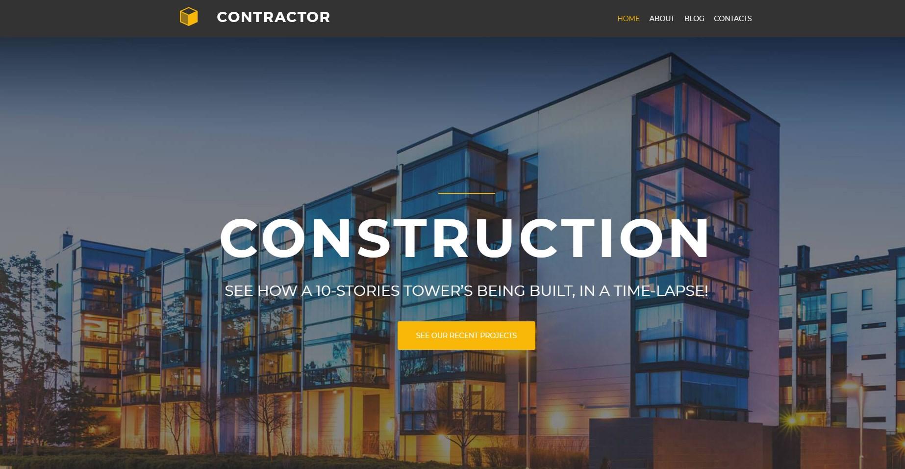 Contractor lite - Architecture & Construction Company Elementor WordPress Theme