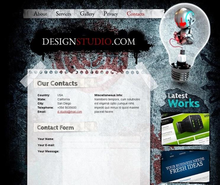Free HTML Theme for Design Studio Website Template