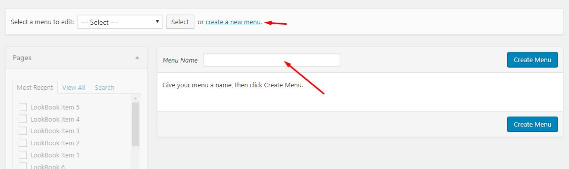 new menu creation