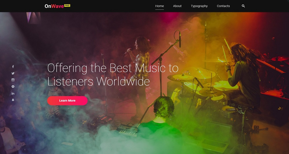 OnWave Music Radio Responsive Free HTML5 Template