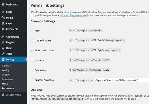 permalinks settings