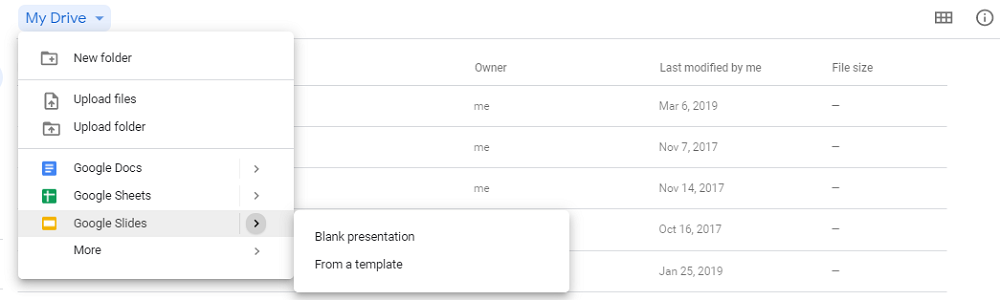 "select ""Blank presentation"""