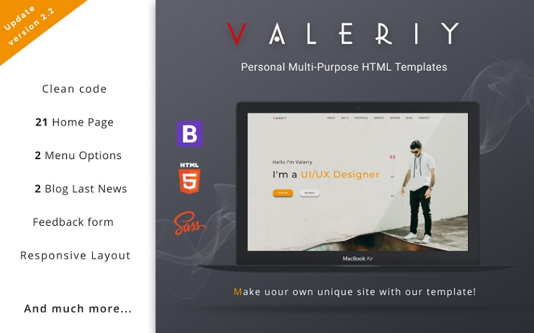 Valerie | Personal multi-purpose landing page template