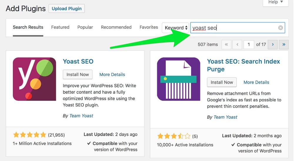 yoast seo search panel
