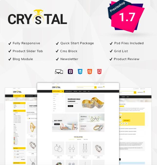 Crystal Jewellery Store PrestaShop Theme
