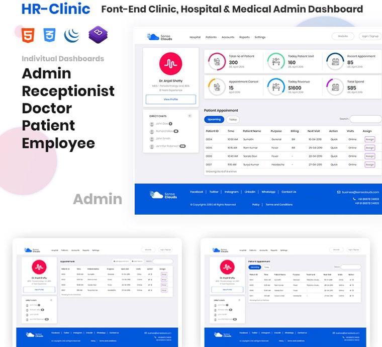 CRM - HR-Clinic   Clinic, Hospital, Medical Admin Template.