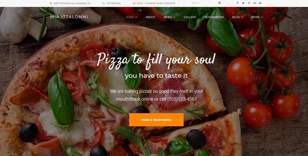 Mia Ittalloni - Free WordPress Restaurant Theme WordPress Theme