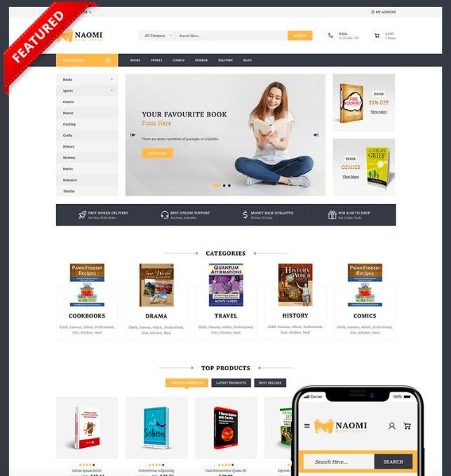 Naomi - Book Store PrestaShop Theme