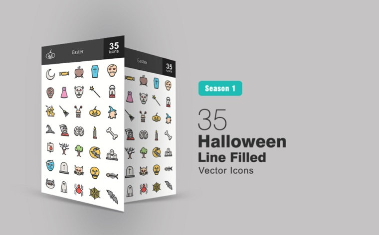 35 Halloween Filled Line Iconset Template.