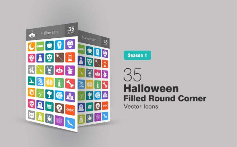 35 Halloween Filled Round Corner Iconset Template.