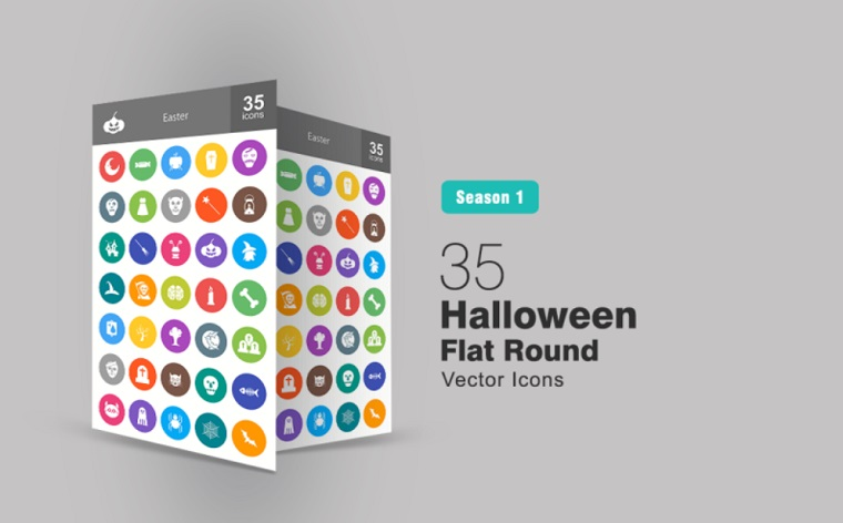 35 Halloween Flat Round Iconset Template.