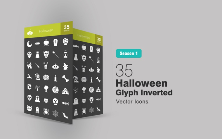 35 Halloween Glyph Inverted Iconset Template.