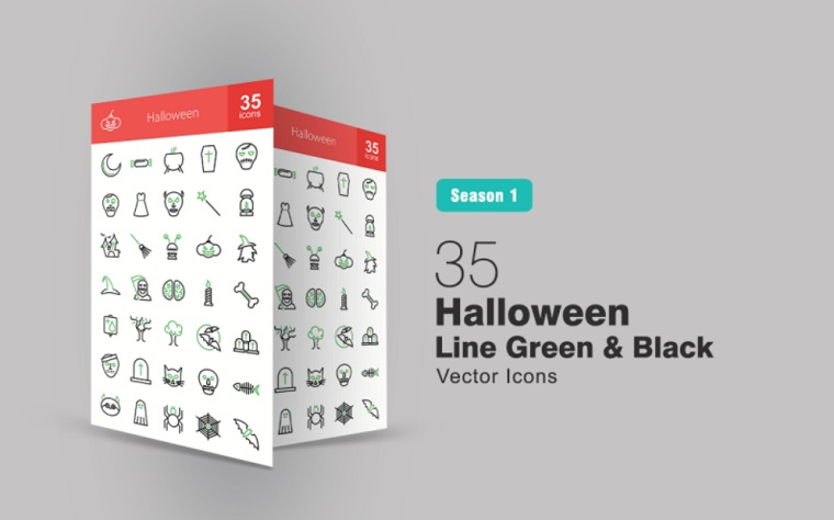 35 Halloween Line Green & Black Iconset Template.