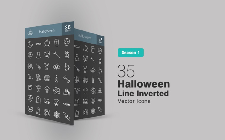 35 Halloween Line Inverted Iconset Template.