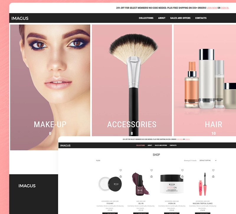 Imagus — Cosmetics Store ECommerce Modern Elementor WooCommerce Theme