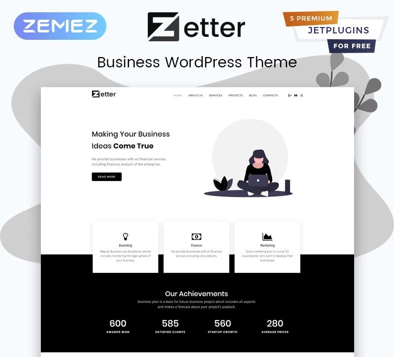 Zetter — Business Multipurpose Black&White Elementor WordPress Theme