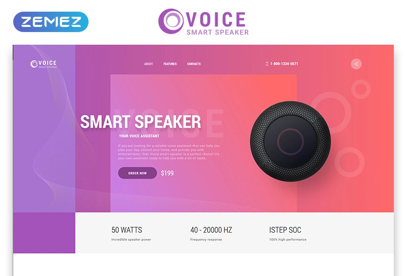 Voice - Smart Speaker One Page Creative HTML Landing Page Template
