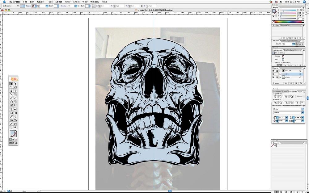 create grunge skull06