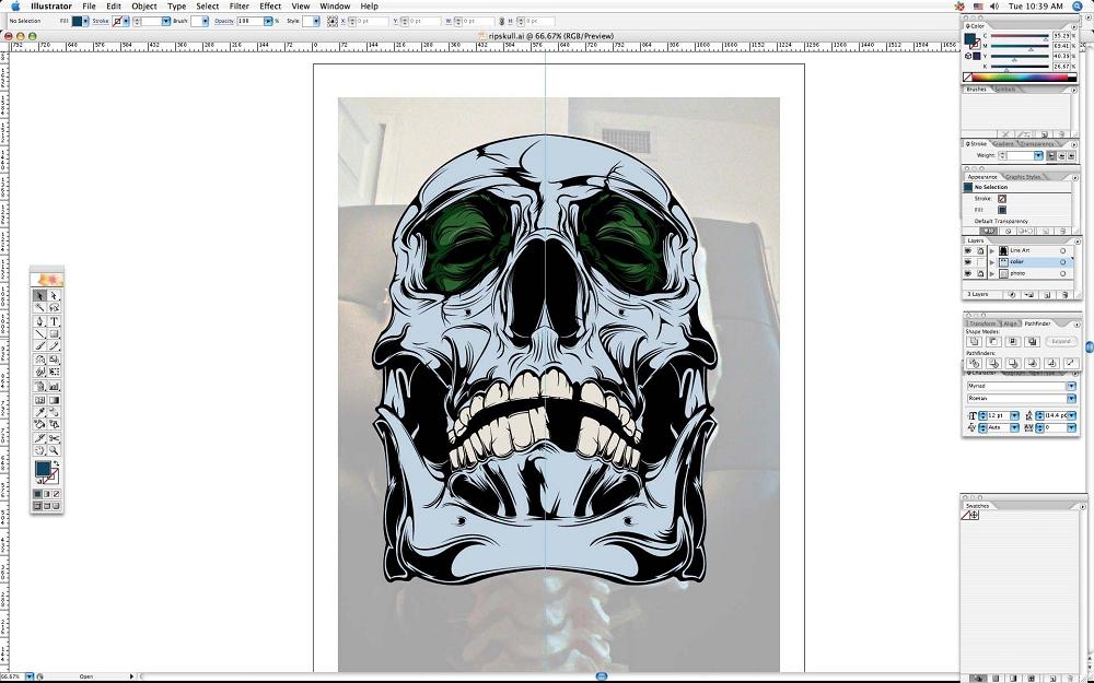 create grunge skull07