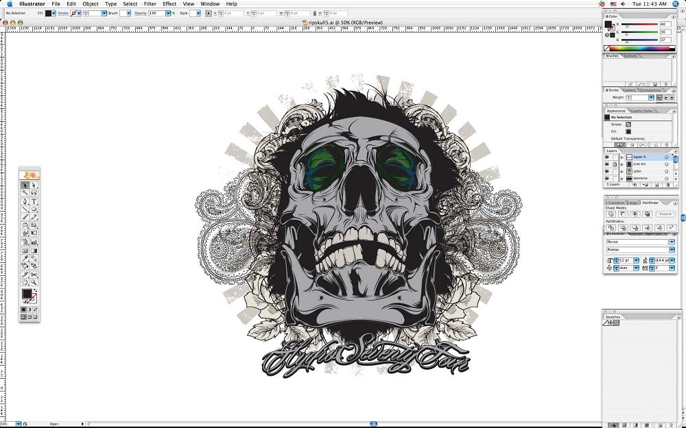 create grunge skull08