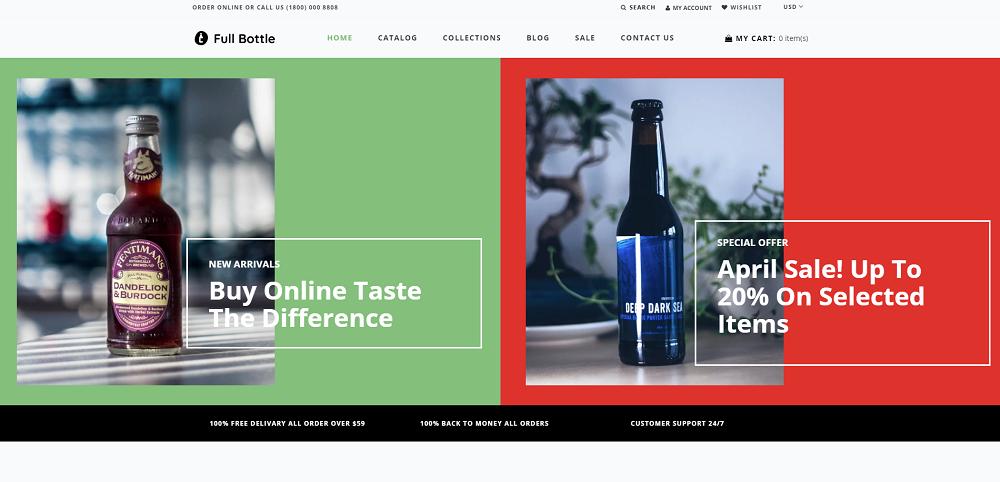 Full Bottle - Drinks Store Clean Shopify Theme