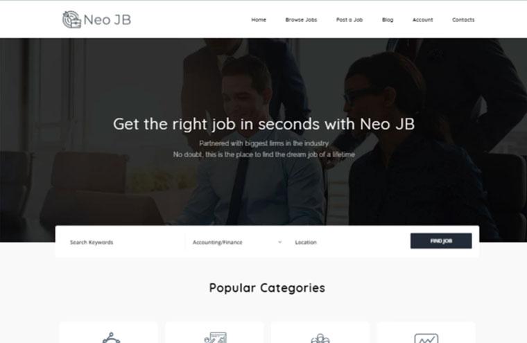 NeoJB - Modern Job Board Elementor WordPress Theme.