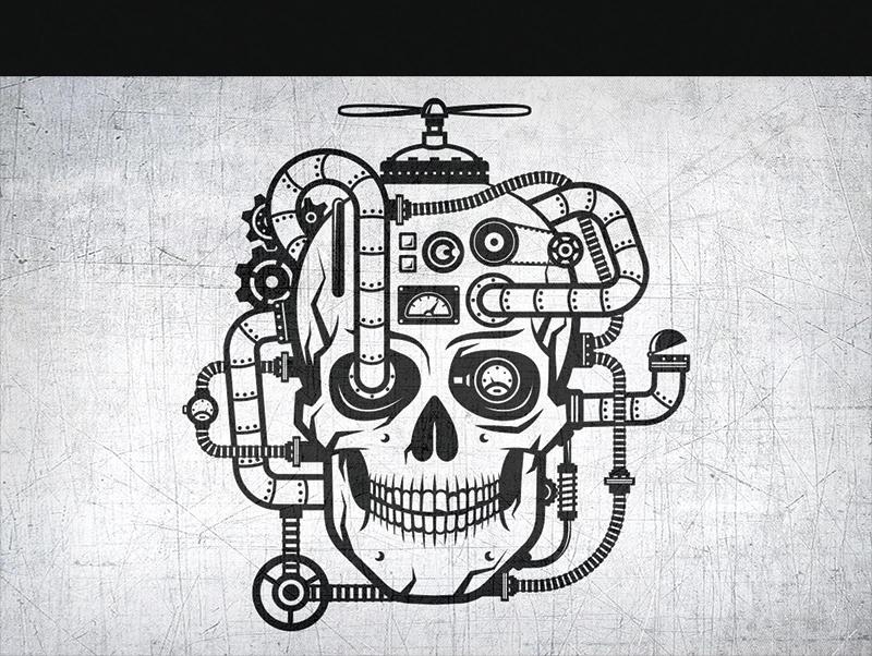 Steampunk Skull Illustration