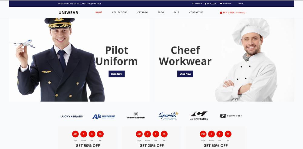 Uniwear - Uniform Multipage Minimalistic Shopify Theme