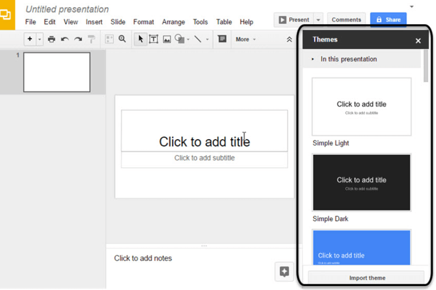 Google slides themes.
