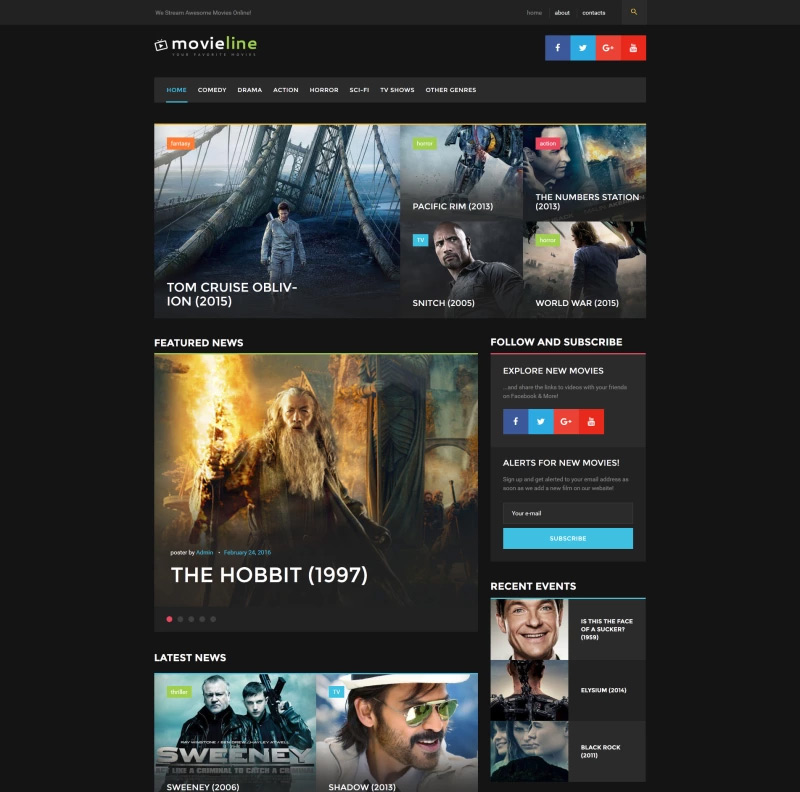 MovieLine - Online Cinema WordPress Theme