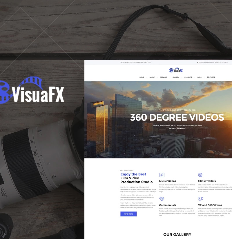 VisuaFX - Film Video Production Studio Responsive WordPress Theme