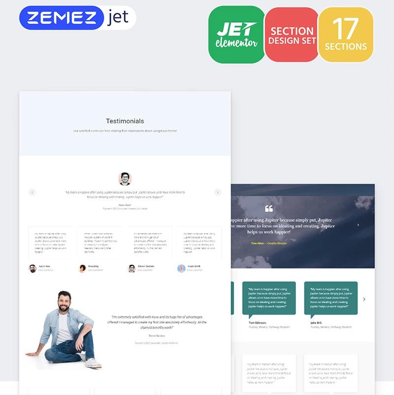 Testiz - Testimonials Jet Sections Elementor Template