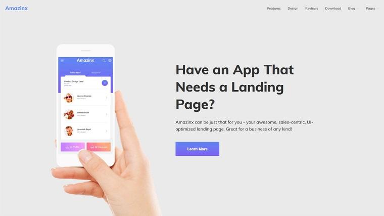 Amazinx - Mobile App Responsive One Page WordPress Theme