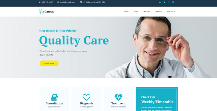 Careex - Family Doctor Elementor WordPress Theme.