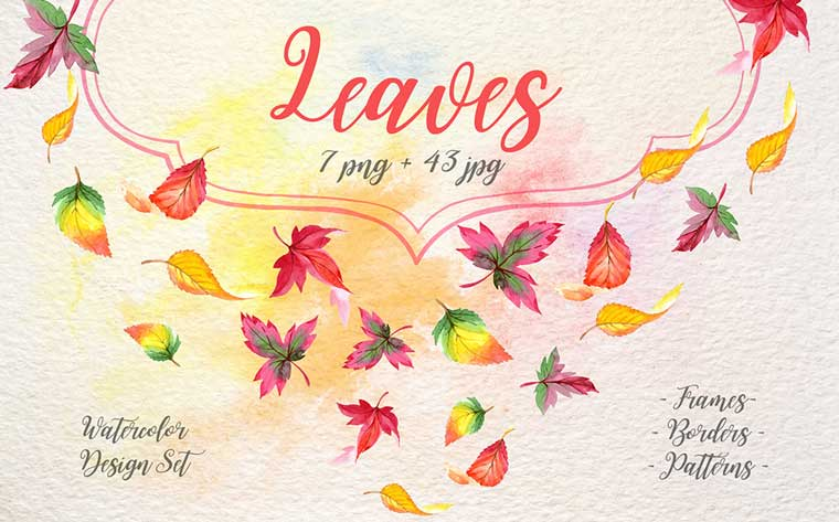 Cool Autumn Leaves PNG Watercolor Set Illustration.