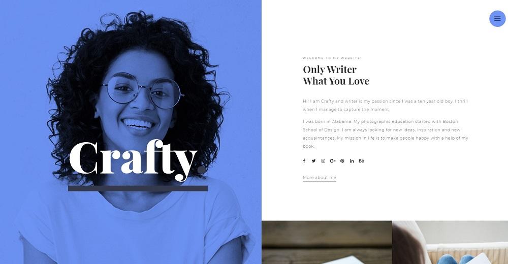 Crafty - Writer One Page Modern Elementor WordPress Theme