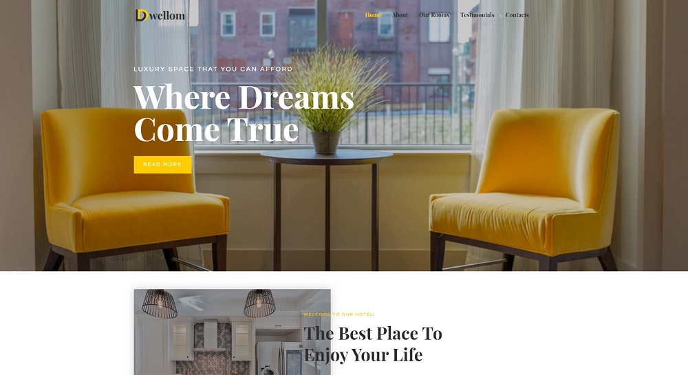 Dwellom - Hotel Clean Elementor WordPress Theme