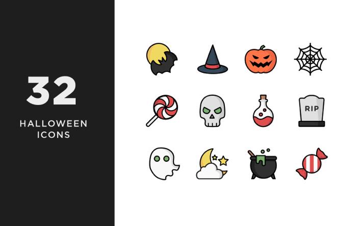 Illustrative Halloween Iconset Template