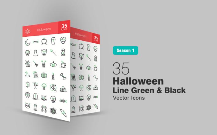 35 Halloween Line Green & Black Iconset Template