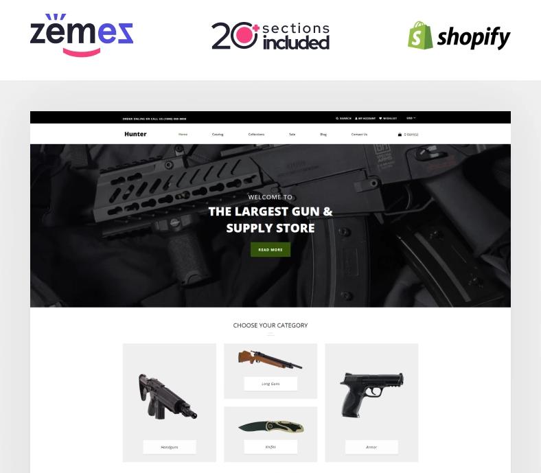 Hunter — Simple Responsive Gun Shop Shopify Theme