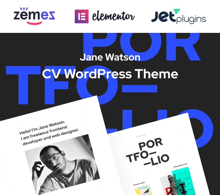 Jane Watson - Advanced And Reliable CV WordPress Theme.