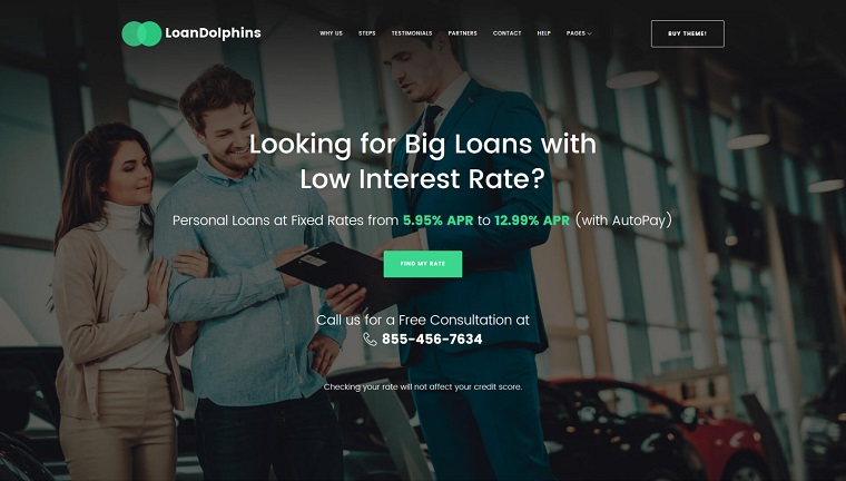 Loan Dolphins - Loan Company One Page WordPress Theme