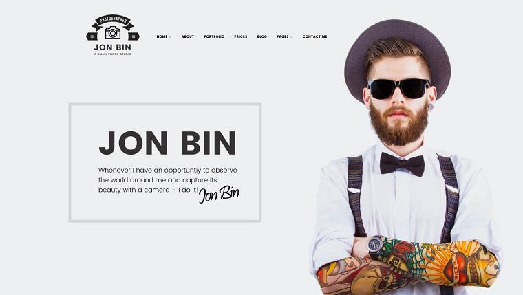 One Page Freelancer Photographer Portfolio WordPress Theme