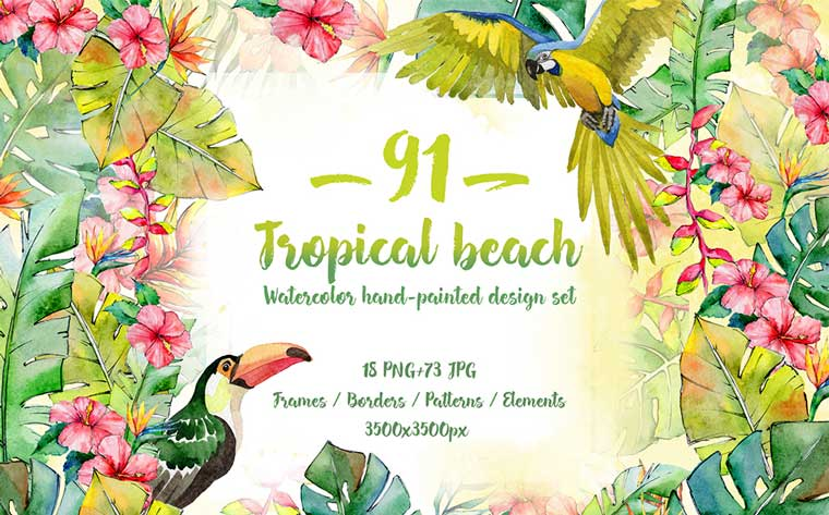 Tropical Beach PNG Watercolor Set Illustration.