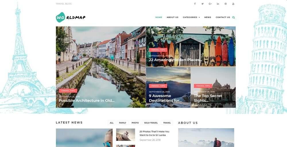 WorldMap - Travel Photo Blog Elementor WordPress Theme.