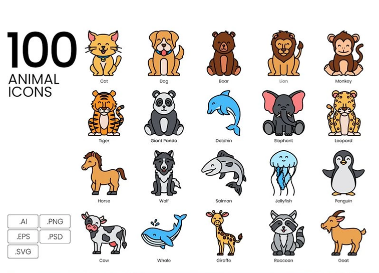 100 Animal Icons - Vivid Series Iconset Template