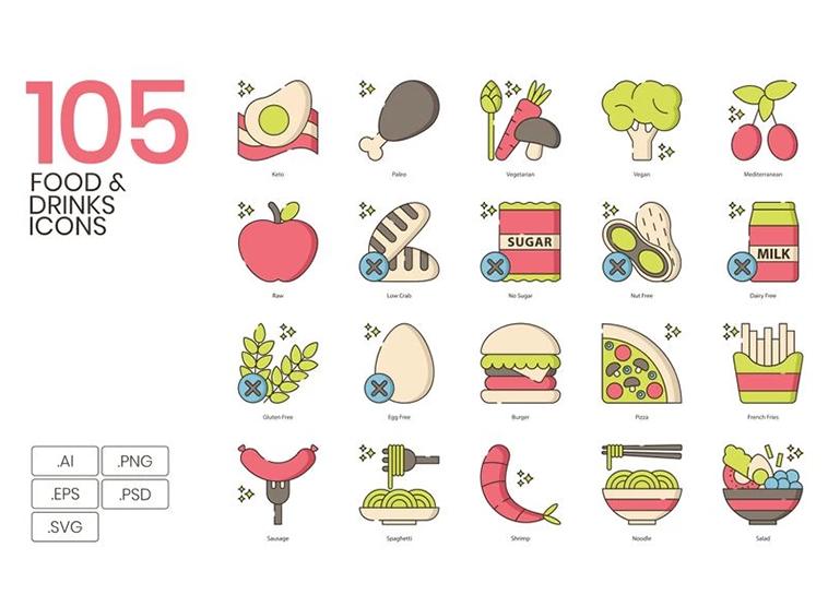 105 Food _ Drinks Icons - Hazel Series Iconset Template